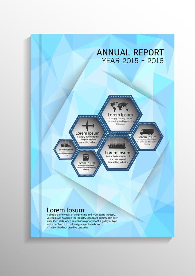 浅兰的低多角形背景 报道设计在A4大小的模板布局年终报告的,小册子,飞行物, illustrati 向量例证