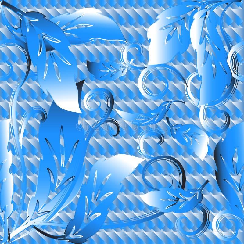 浅兰的巴洛克式的花卉3d无缝的样式 传染媒介织地不很细o 库存例证