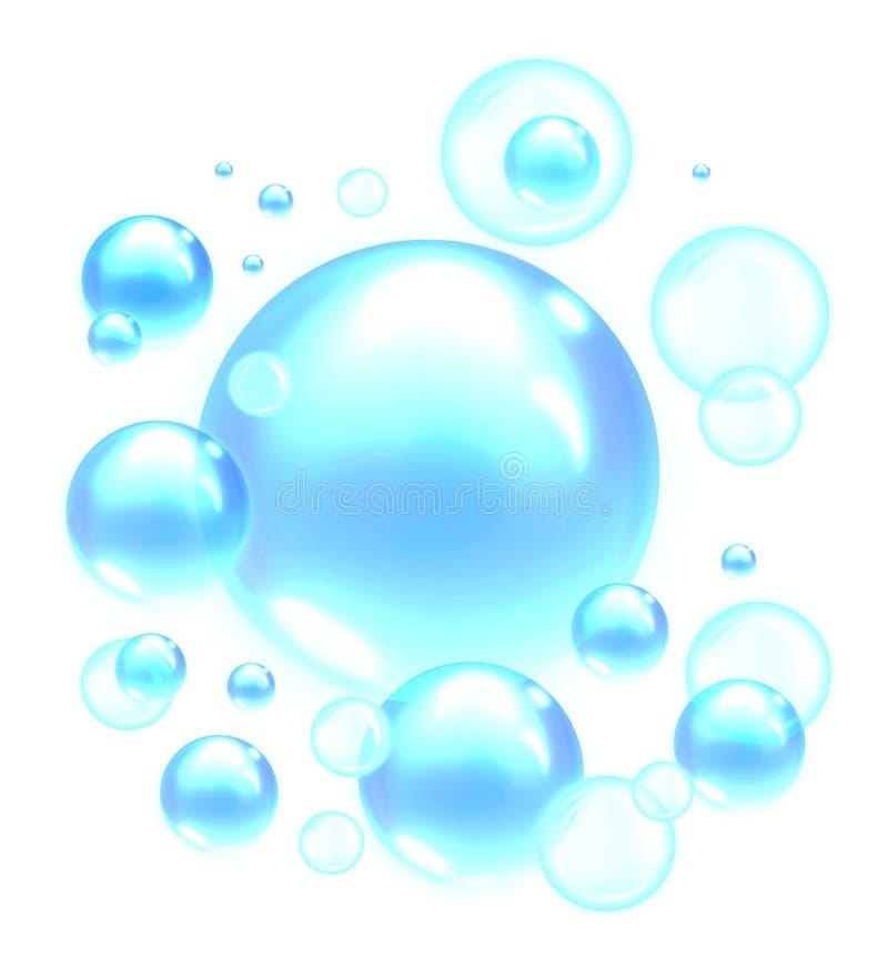 浅兰的肥皂泡 向量例证
