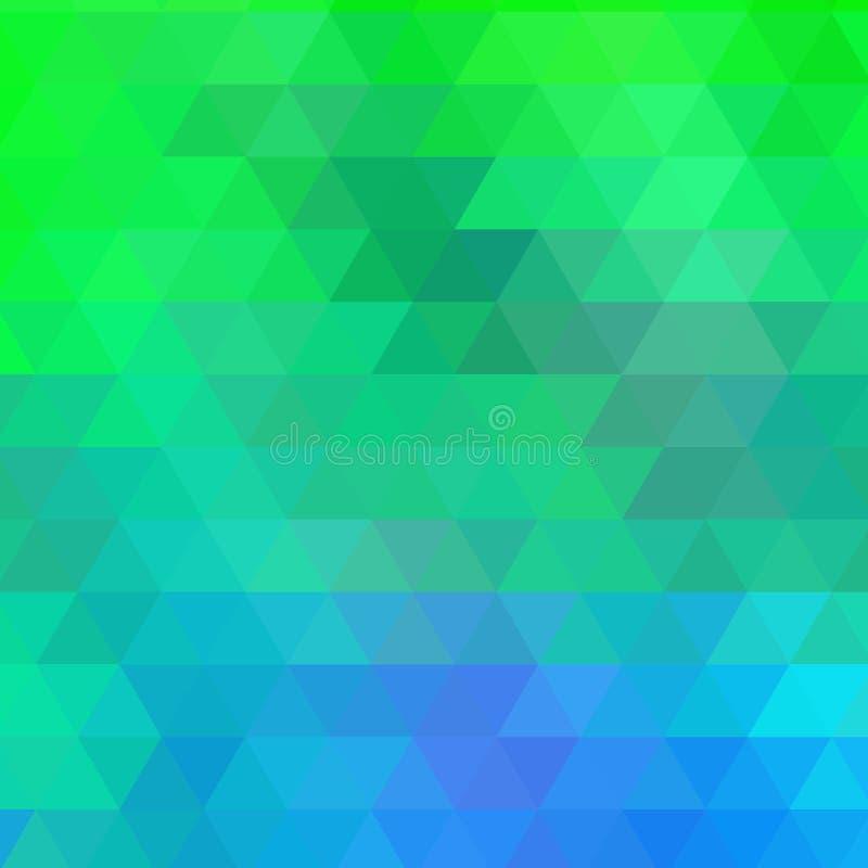浅兰,绿色多角形摘要模板 在Origami样式的几何例证与梯度 多角形设计 向量例证