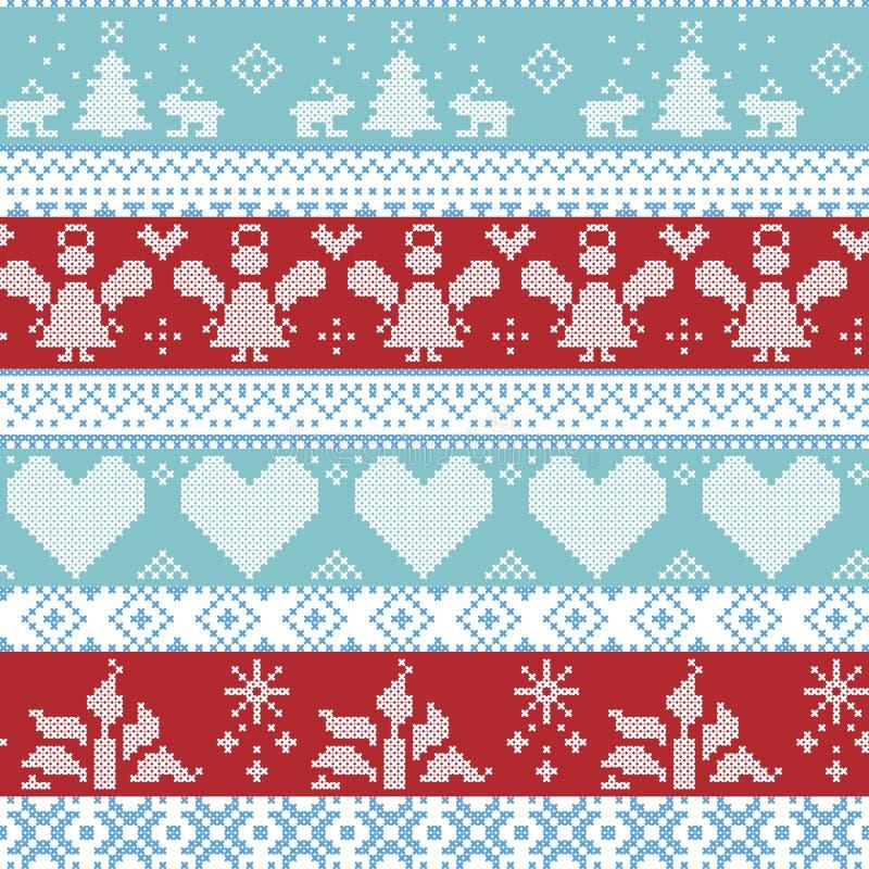 浅兰,蓝色,白色和红色斯堪的纳维亚北欧与天使的圣诞节无缝的发怒针样式, Xmas树,兔子,雪 库存例证