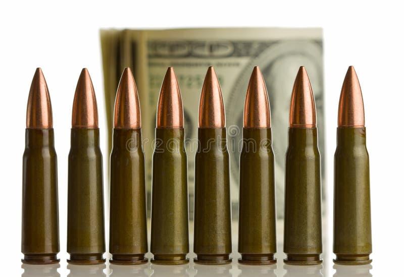 浅弹药筒dof的货币 库存图片