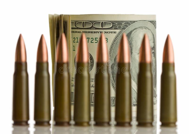浅弹药筒dof的货币 库存照片