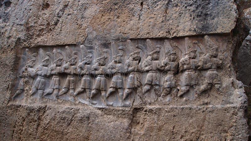 浅浮雕赫梯废墟, Corum,土耳其 库存图片