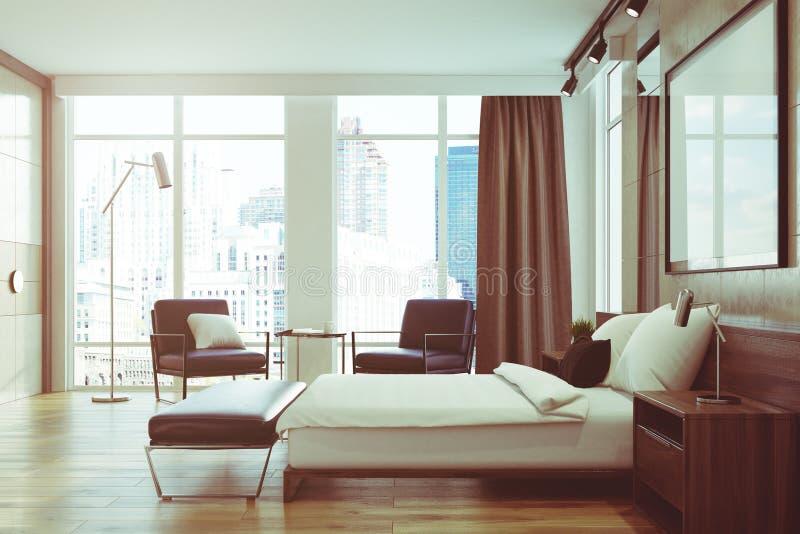 浅灰色的卧室内部,海报,边,被定调子 向量例证