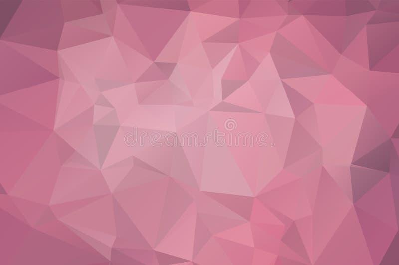 浅粉红色的传染媒介现代几何抽象背景,多色,彩虹传染媒介三角马赛克模板 皇族释放例证