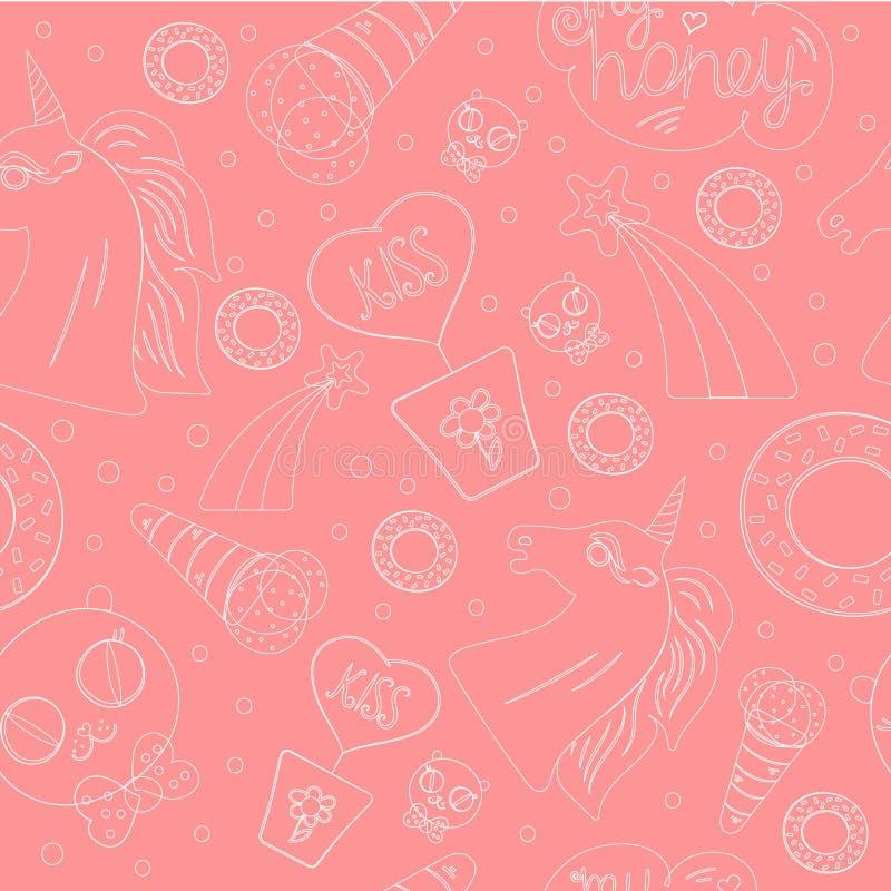 浅粉红色的样式 向量例证