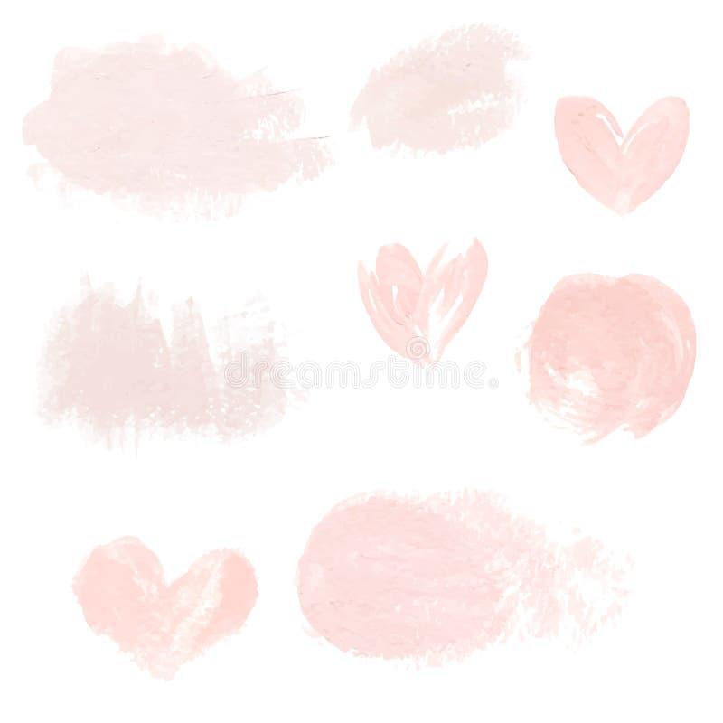 浅粉红色的淡色丙烯酸酯的刷子冲程,商标的,装饰,婚姻的邀请精美纹理 库存例证