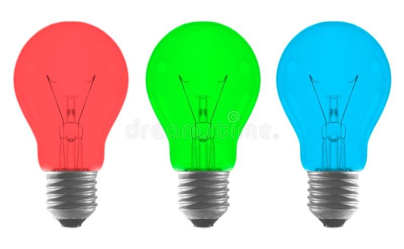浅红色蓝色电灯泡颜色的绿色 库存照片