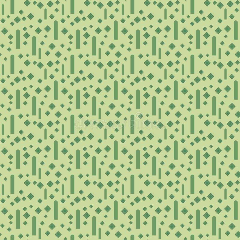 浅绿色的几何与淡绿色的小菱形和垂直条纹的传染媒介无缝的样式 皇族释放例证