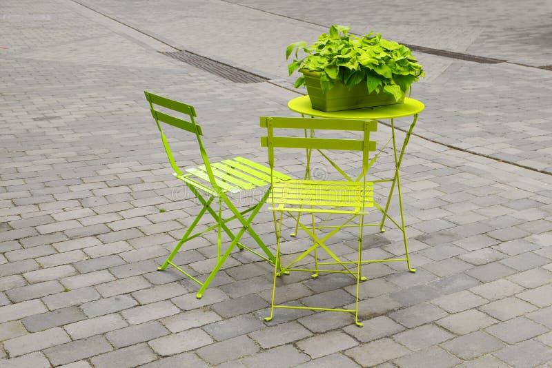 浅绿色的庭院椅子和一个折叠式小桌与一绿色flowe 库存照片