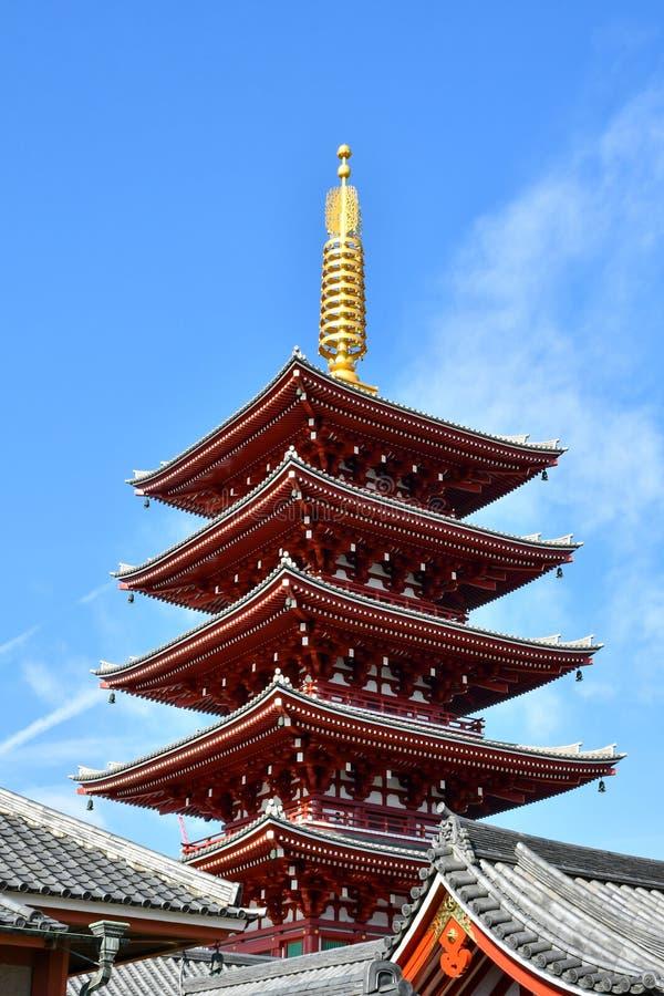 浅草Sensoji寺庙五层的塔 库存照片