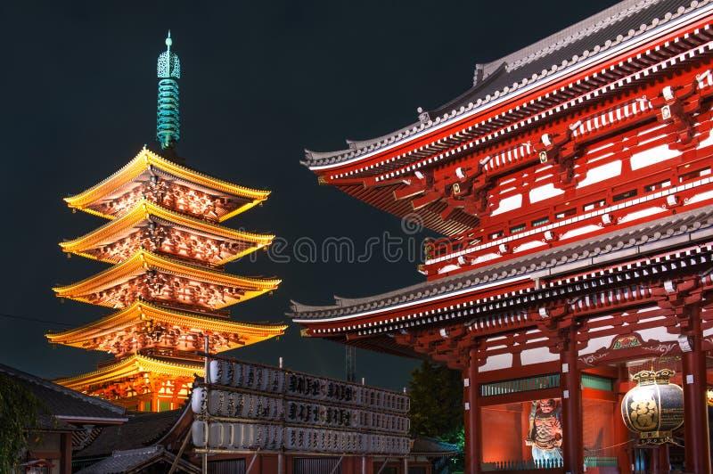 浅草Sensoji寺庙的-东京,日本五层塔 免版税库存图片