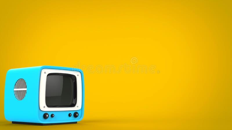 浅蓝色减速火箭的样式电视 皇族释放例证