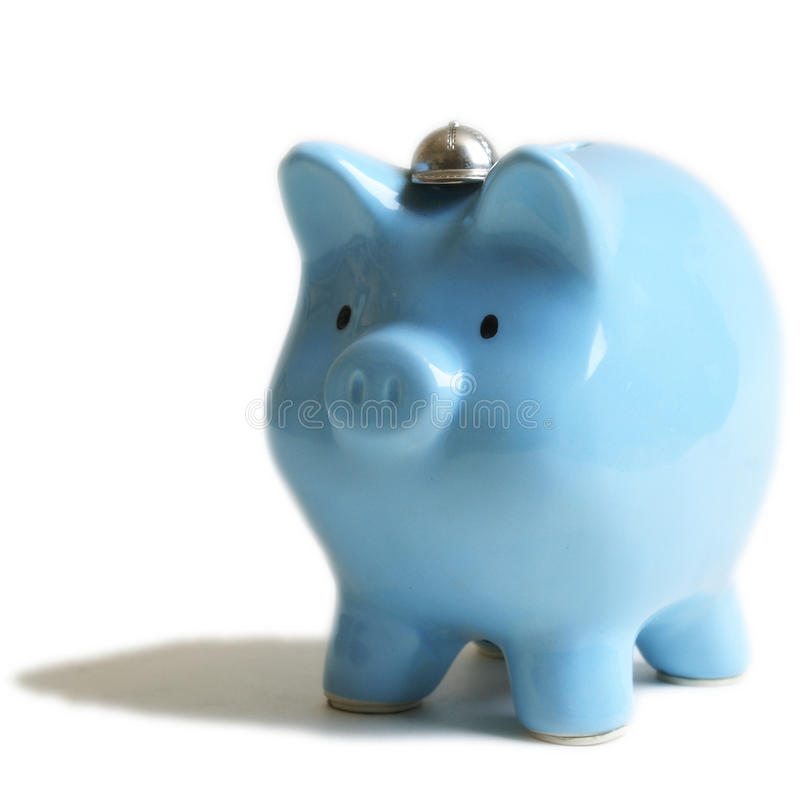 浅蓝色猪银行 免版税库存照片