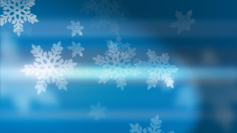 浅蓝色背景,带3d雪花 免版税库存图片