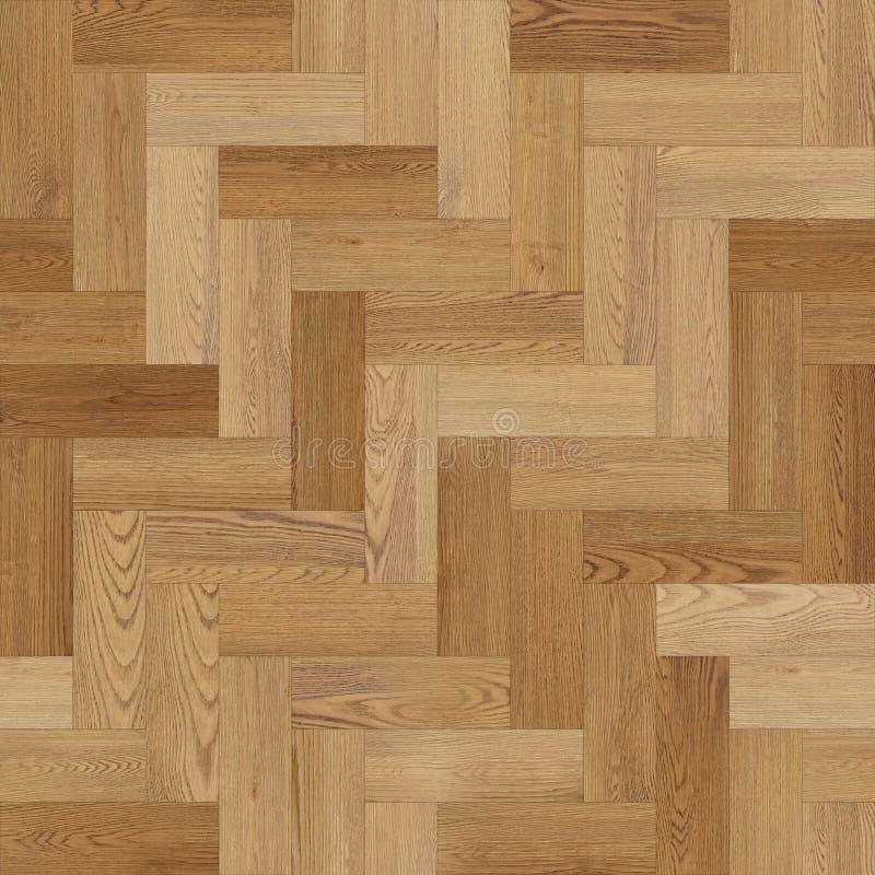 浅褐色宽无缝的木木条地板纹理的人字形 库存例证