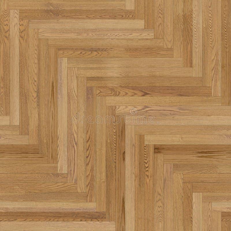 浅褐色无缝的木木条地板纹理的人字形 库存例证