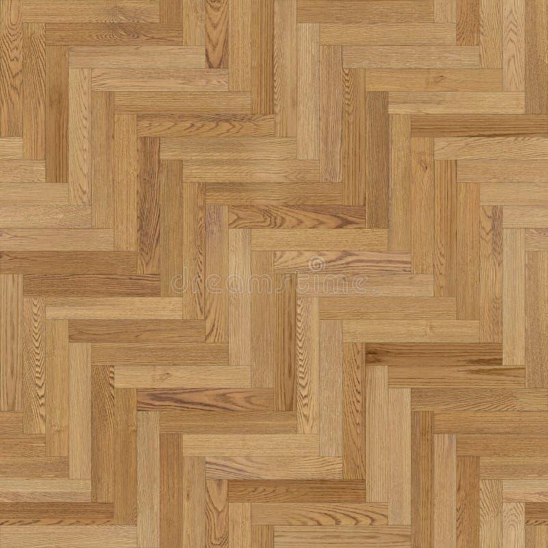 浅褐色无缝的木木条地板纹理的人字形 皇族释放例证