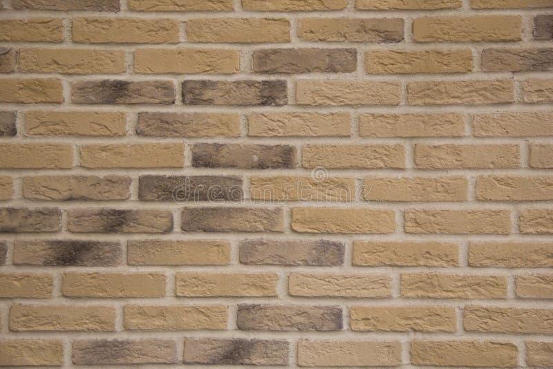 浅褐色的在强调石头纹理和深度的坚硬光的石头砖外墙 库存图片