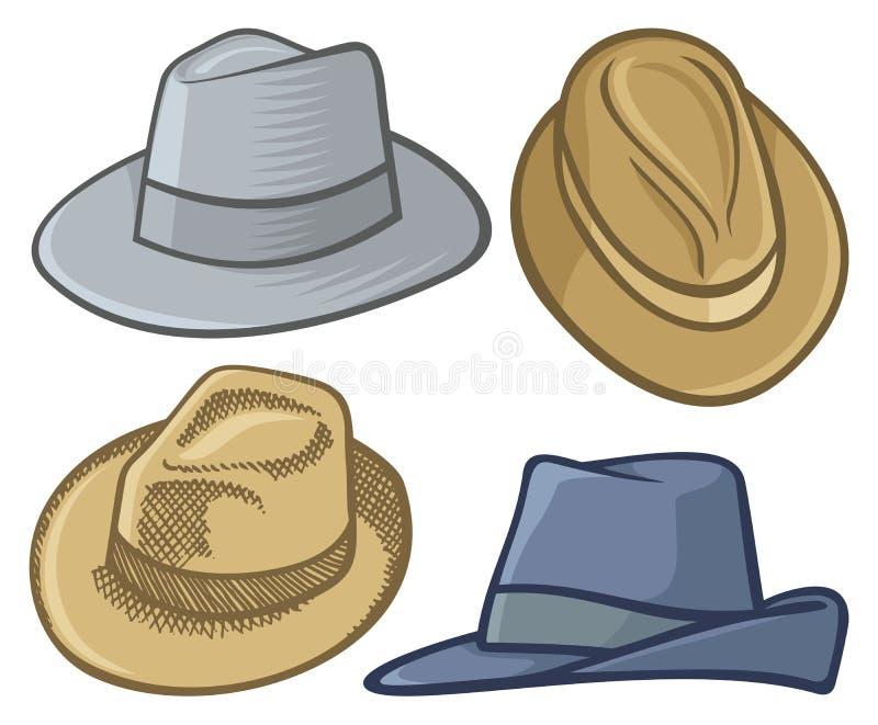 浅顶软呢帽帽子 向量例证