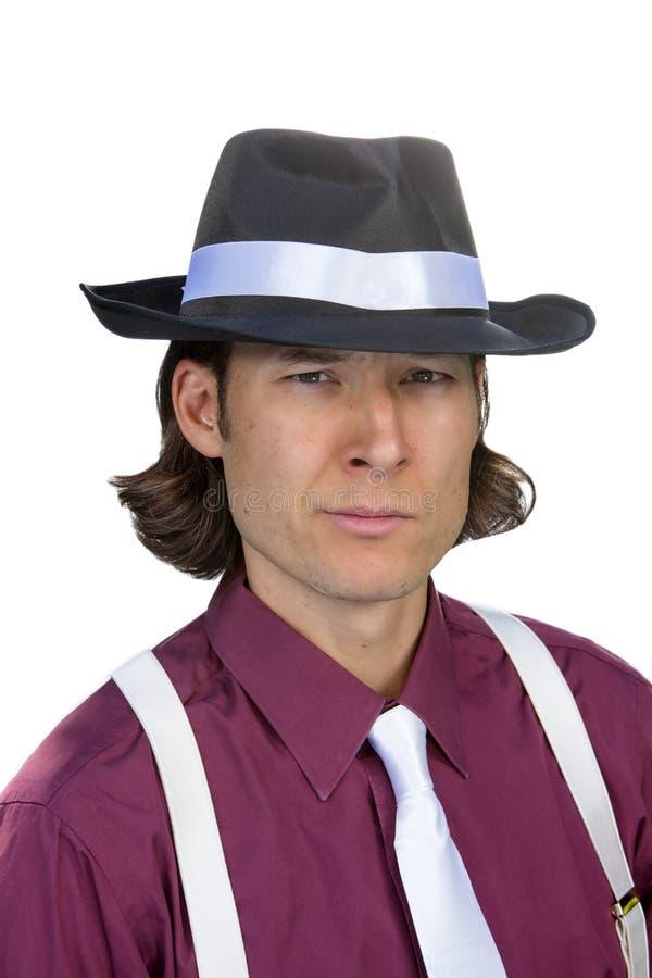 浅顶软呢帽的人 库存图片