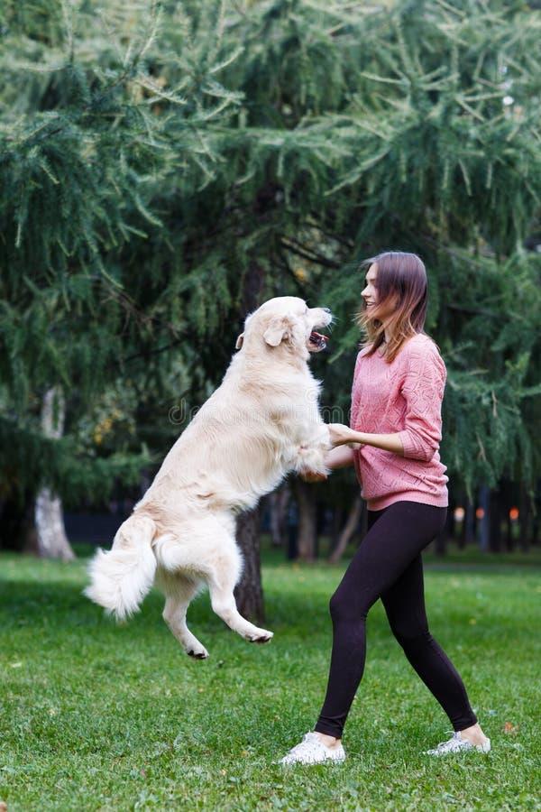 浅黑肤色的男人和跳跃的狗的图象在绿色草坪 图库摄影