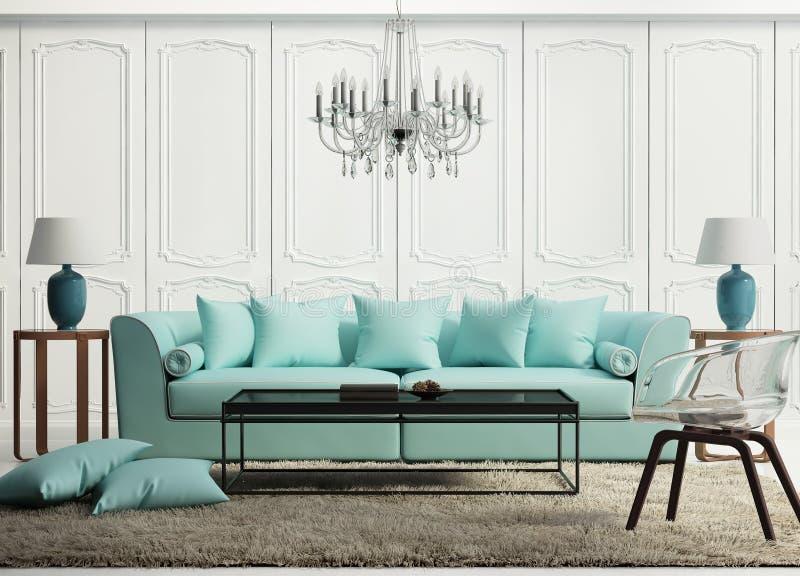 浅绿色的典雅的巴洛克式的客厅 免版税图库摄影