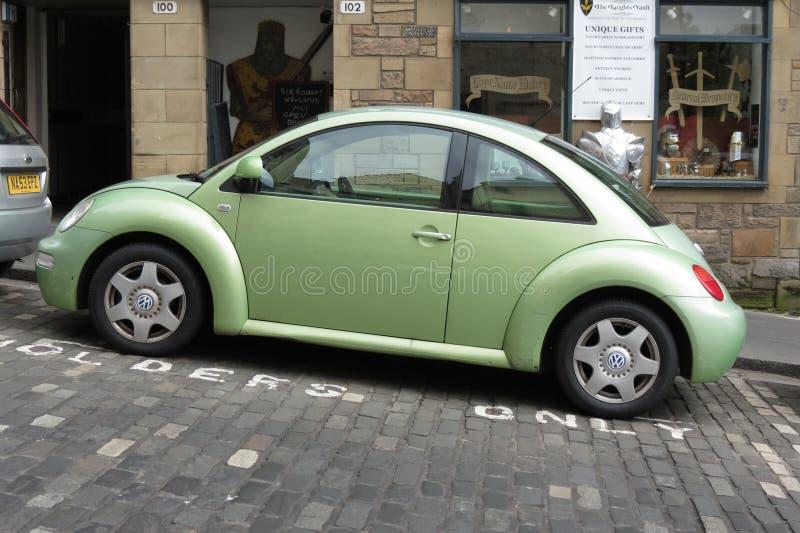 浅绿色的大众新的甲虫汽车 库存图片