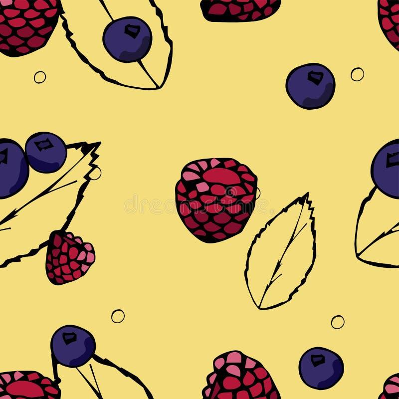 浆果仿造无缝 手拉的莓和蓝莓 库存例证