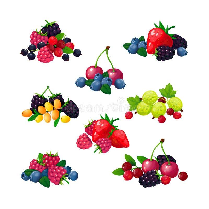 浆果新夏天 堆莓无核小葡萄干草莓鹅莓黑莓蔓越桔蓝莓动画片传染媒介集合 库存例证