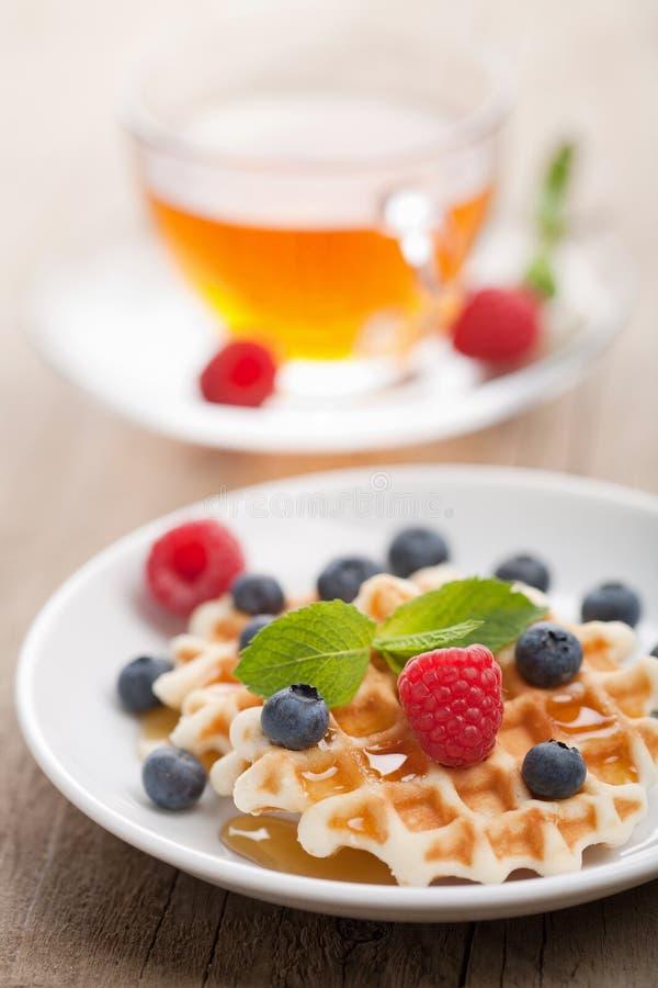 浆果新鲜的蜂蜜奶蛋烘饼 免版税图库摄影
