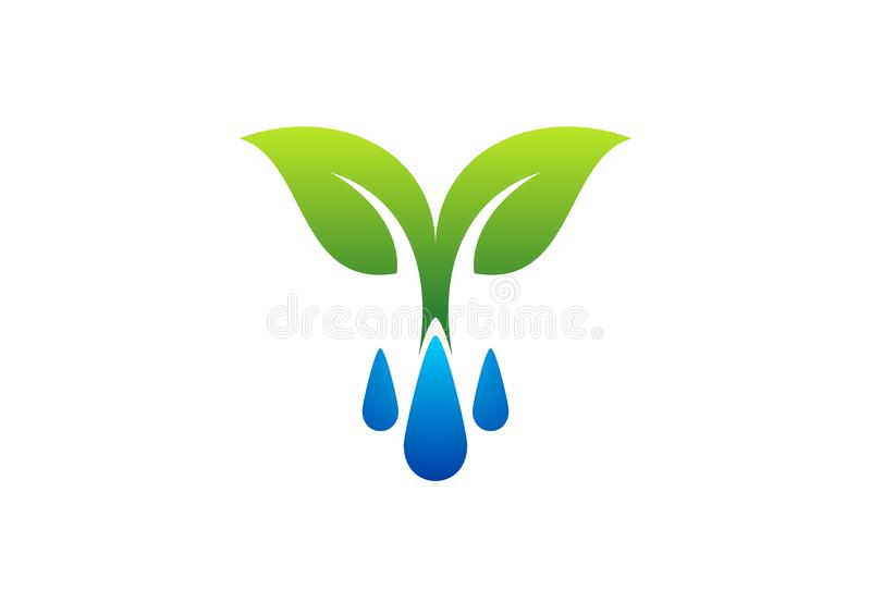浇灌下落商标、露水和植物标志,春天象 皇族释放例证