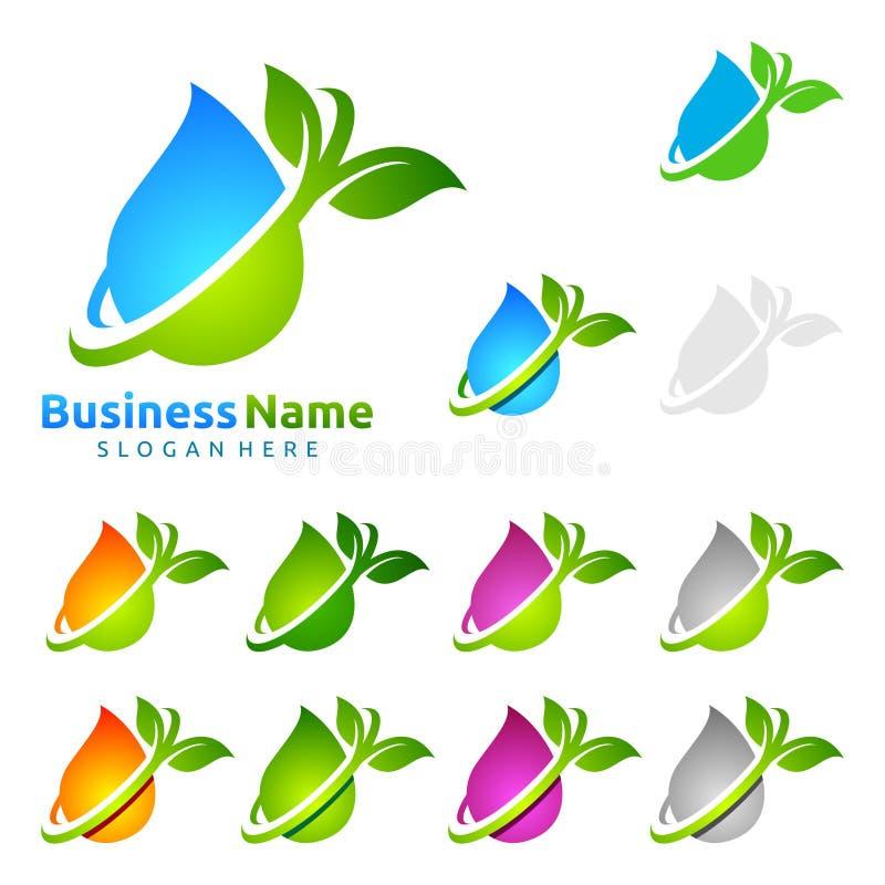 浇灌下落,油,气体,生态叶子商标模板自然绿色树  向量例证