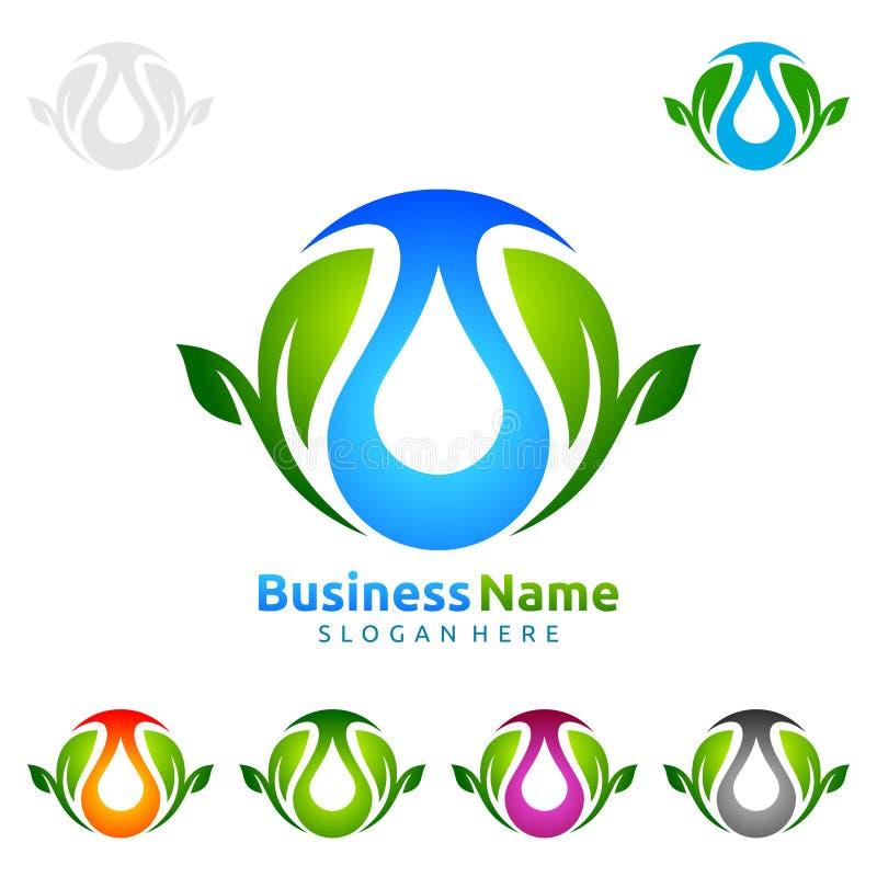 浇灌下落,油,气体,生态叶子商标模板自然绿色树  皇族释放例证