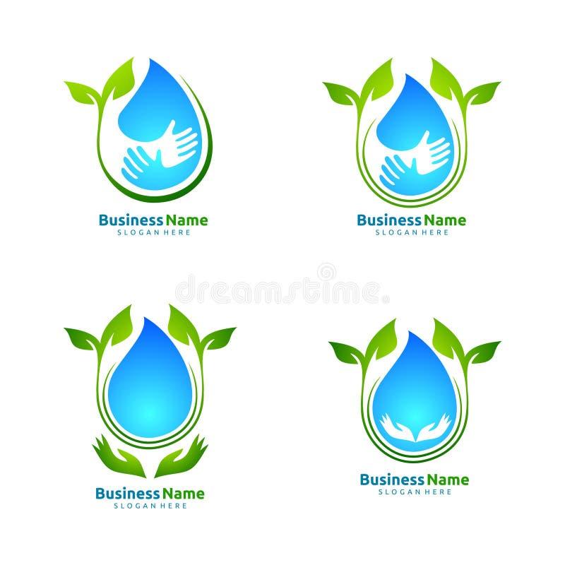 浇灌下落,生态叶子商标模板自然绿色树  向量例证