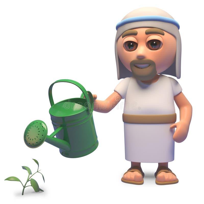 浇灌他的有一把喷壶的,3d的圣洁耶稣基督庭院例证 皇族释放例证