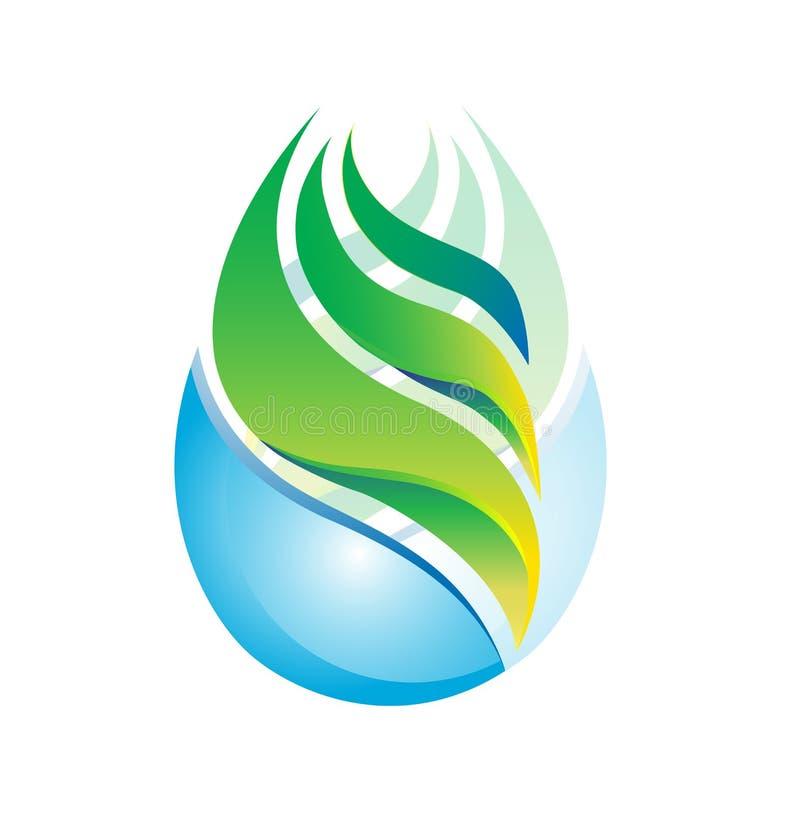 浇灌叶子太阳标志象商标摘要植物春天自然健康生态传染媒介 向量例证