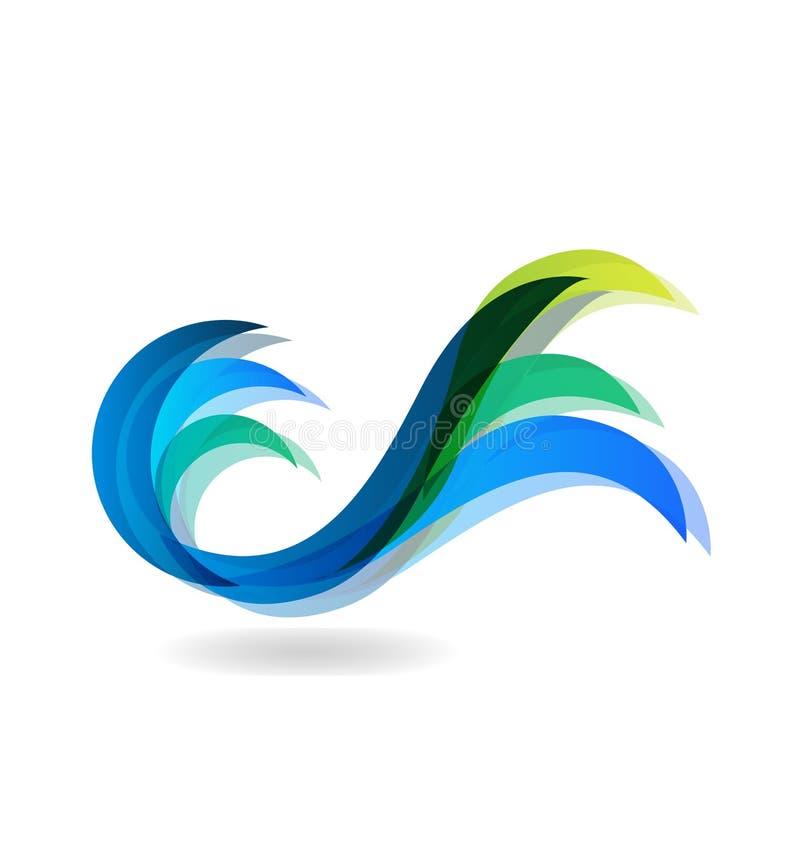 浇灌圆波浪,色的蓝色,象传染媒介商标 向量例证