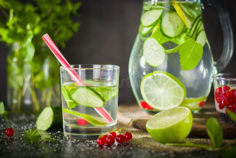 浇灌在一个玻璃瓶子和玻璃的戒毒所 新鲜的绿色薄菏和莓果 刷新和健康饮料 免版税图库摄影