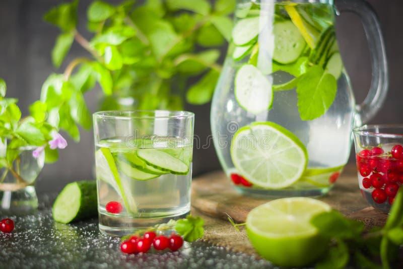 浇灌在一个玻璃瓶子和玻璃的戒毒所 新鲜的绿色薄菏和莓果 刷新和健康饮料 图库摄影