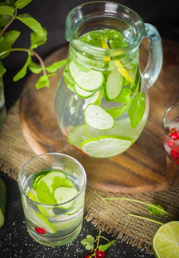 浇灌在一个玻璃瓶子和玻璃的戒毒所 新鲜的绿色薄菏和莓果 刷新和健康饮料 免版税库存图片