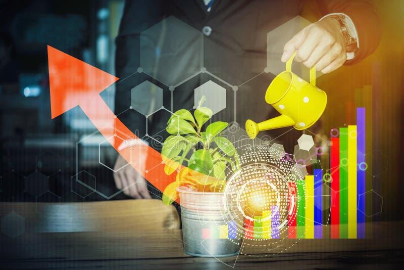 浇灌在有技术和busine的植物的商人的手 向量例证