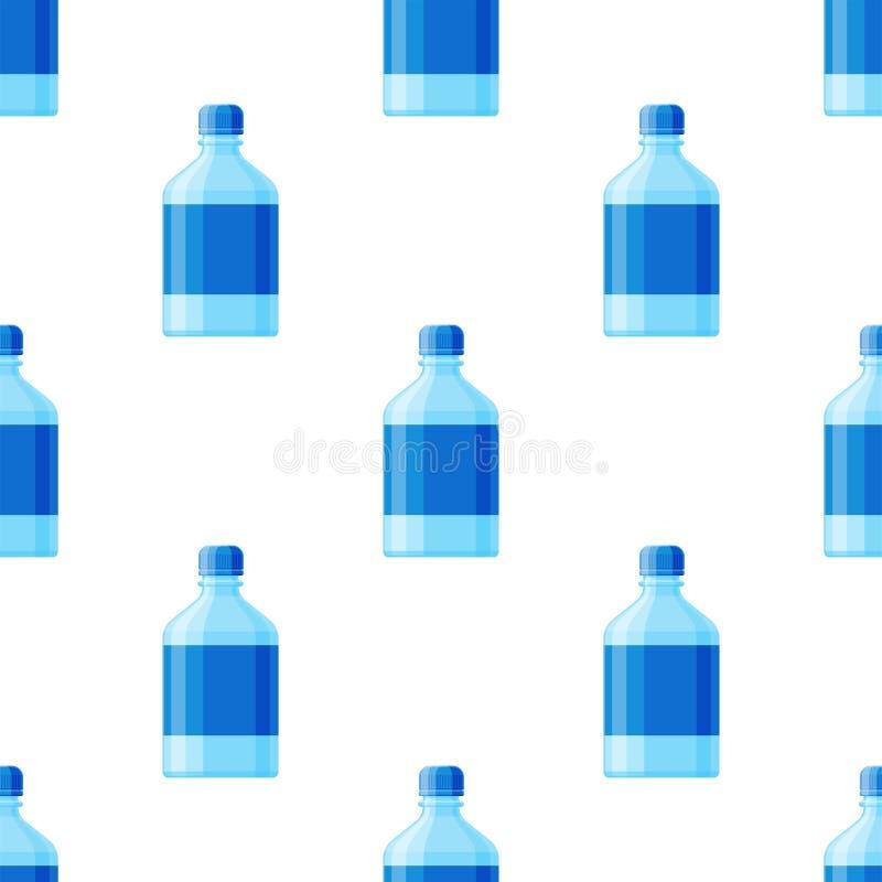 浇灌塑料无缝瓶传染媒介透明矿物饮料空白的茶点 库存例证