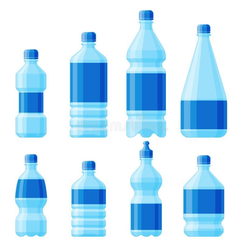 浇灌塑料瓶传染媒介透明矿物饮料空白茶点自然蓝色干净的液体水色流体模板 向量例证