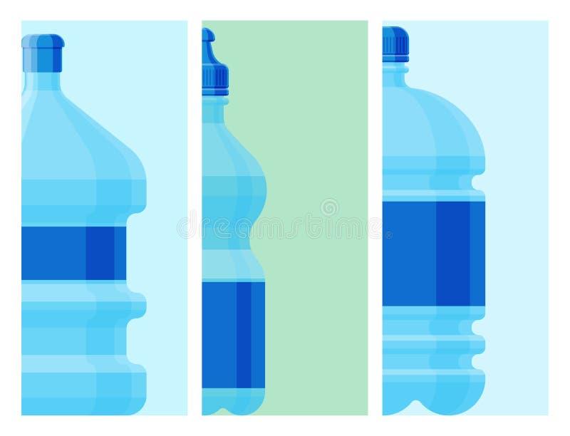 浇灌塑料瓶卡片传染媒介透明矿物饮料 向量例证