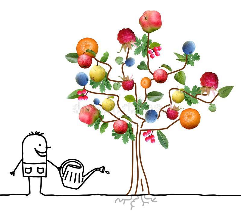 浇灌多果树的动画片花匠 皇族释放例证