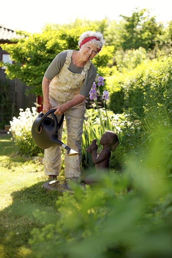 浇灌她的植物的资深妇女 图库摄影