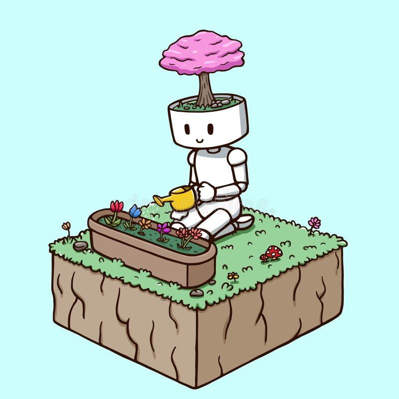 浇灌庭院花的机器人 库存例证