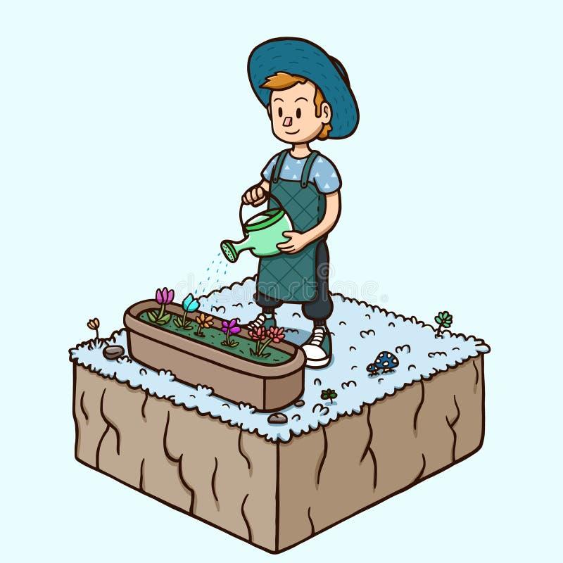 浇灌庭院花-冬天季节的白人 库存例证
